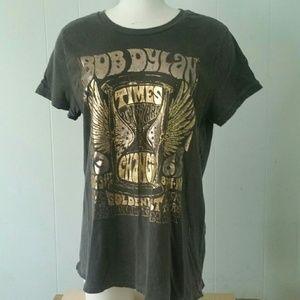 Bob Dylan Tshirt Folk Rock n Roll Tee Retro Gold
